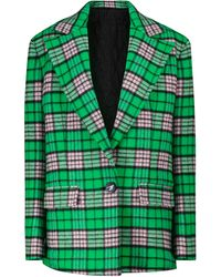 The Attico Checked Wool-blend Jacket - Green