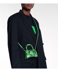 Balenciaga Borsa Hourglass Mini in pelle stampata - Verde