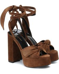 Saint Laurent Bianca 125 Suede Platform Sandals - Brown