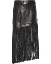 Helmut Lang Jupe en cuir à franges - Noir