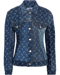 Marine Serre Giacca di jeans a stampa - Blu