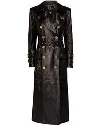 Balmain Leather Trench Coat - Black