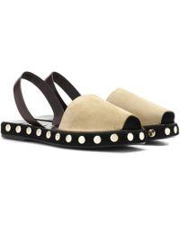 Loewe - Suede Slingback Sandals - Lyst