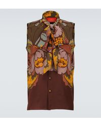 Gucci Camisa de seda sin mangas - Multicolor