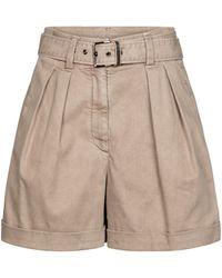 Brunello Cucinelli High-rise Stretch Cotton-blend Shorts - Natural