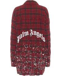 Palm Angels Camisa de algodón de cuadros - Rojo