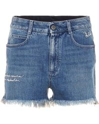 Stella McCartney Embroidered Denim Shorts - Blue