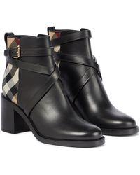 Burberry Ankle Boots Archive Check aus Leder - Schwarz