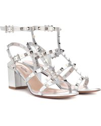 cd92d39f8a Valentino Rockstud Leather Block-heel Sandal in Natural - Lyst