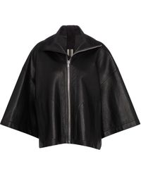 Rick Owens Giacca in pelle con zip - Nero