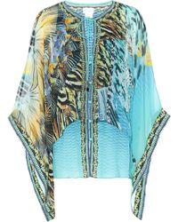 Camilla Printed Silk Blouse - Blue