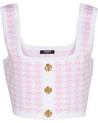 Balmain Cropped-Top aus Jacquard - Pink