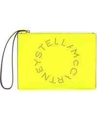 Stella McCartney Clutch mit Stella-Logo - Gelb