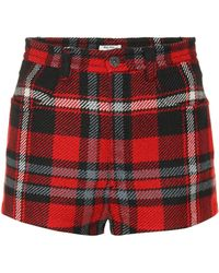 Miu Miu Karierte Shorts aus Schurwolle - Rot