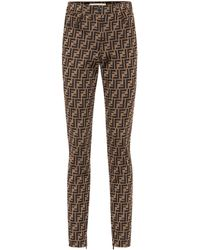 Fendi Ff-jacquard Skinny Trousers - Multicolour
