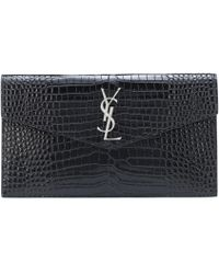 Saint Laurent Uptown Embossed Leather Clutch - Black