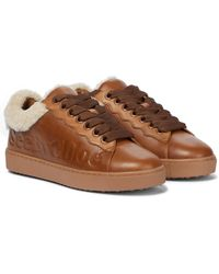 See By Chloé Essie Shearling And Leather Sneakers - Brown