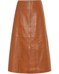 JOSEPH Idena Leather Midi Skirt - Brown