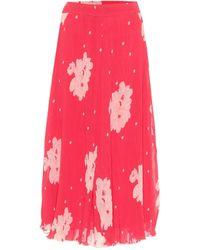 Ganni Floral Georgette Midi Skirt - Pink