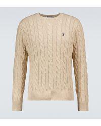 Polo Ralph Lauren Pullover aus Baumwolle mit Zopfmuster - Natur