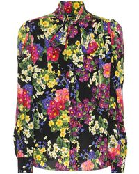 Dolce & Gabbana Camicia in seta a stampa floreale - Nero