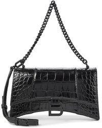 Balenciaga Schultertasche Hourglass Mini aus Leder - Schwarz