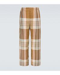 Lemaire Pantalon en coton et lin mélangés à carreaux - Multicolore