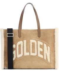Golden Goose Deluxe Brand California Shearling And Suede Tote - Natural