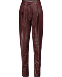 Zeynep Arcay High-rise Pleated Leather Trousers - Red