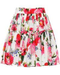 Dolce & Gabbana Floral-printed Cotton Miniskirt - Red