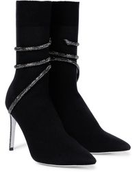 Rene Caovilla Cleo Embellished Ankle Boots - Black