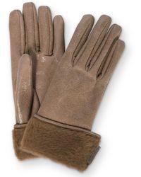 Brunello Cucinelli Handschuhe aus Leder mit Shearling - Braun