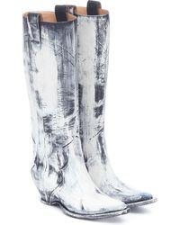 Maison Margiela Botas cowboy de piel pintadas - Blanco