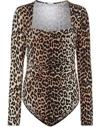 Ganni Leopard-printed Bodysuit - Brown