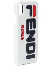 Fendi Mania Leather Iphone X/xs Case - White