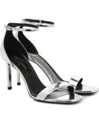 Saint Laurent Amber 85 Metallic Leather Sandals - Multicolor