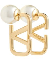 Valentino Garavani Vlogo Faux Pearl Earrings - Metallic