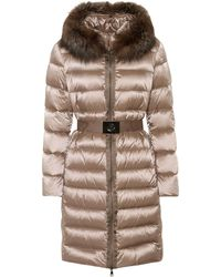 Moncler Fur-trimmed Puffer Coat - Brown