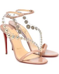 Christian Louboutin Corinetta 100 Embellished Sandals - Natural