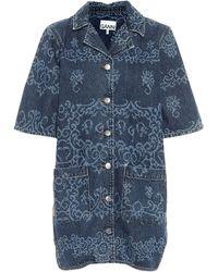 Ganni Camicia di jeans a stampa - Blu