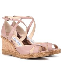 Jimmy Choo Alanah 80 Leather Wedge Sandals - Pink