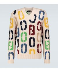 Fendi Intarsia Knitted Wool Jumper - Multicolour