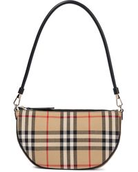 Burberry Olympia Pouch Checked Shoulder Bag - Natural