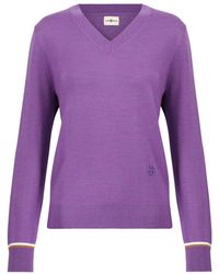 Tory Sport Merino Wool Jumper - Purple