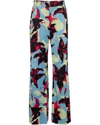 Dries Van Noten Floral Wide-leg Satin Pants - Blue