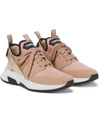Tom Ford Leather-trimmed Sneakers - Natural