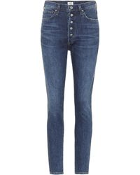 Citizens of Humanity High-Rise Slim Ankle Jeans Olivia - Blau