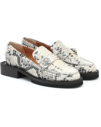 Ganni Exclusive To Mytheresa – Snake-effect Leather Loafers - White