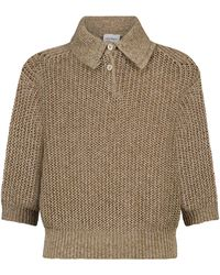 Ferragamo Ribbed Knit Polo Jumper - Natural