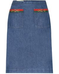 Gucci Denim Midi Skirt - Blue
